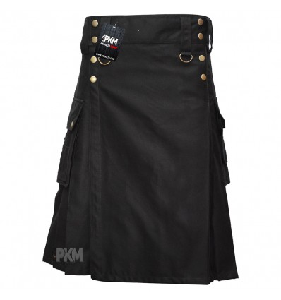 Black Cargo Men Utility Kilt Bras Snaps with 3 Pockets