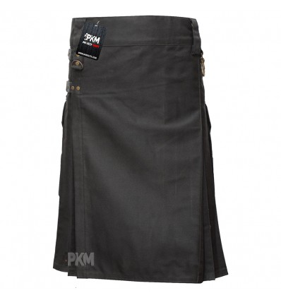 Black Men Utility Kilt  with 4 closing Straps