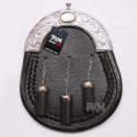 Scottish Black Leather Three Tassels Sporran With Chrome Thistle Cantle