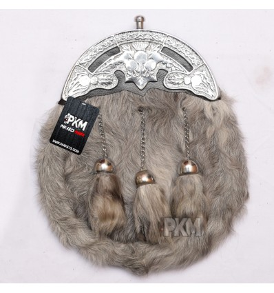 Men Scottish Thistle Cantle With White Rabbit Fur Sporran