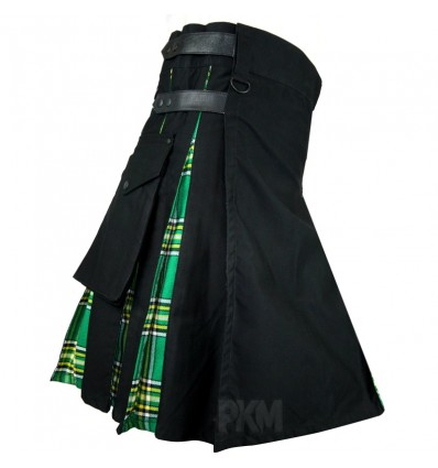 Men 100% stylish cotton Black and Green Hybrid Utility kilt