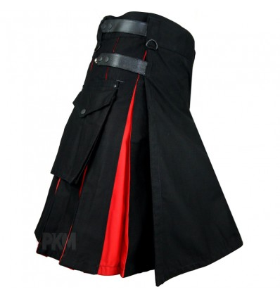 Hybrid Decent Black and Red Pleat Utility Kilt Attached Box pockets