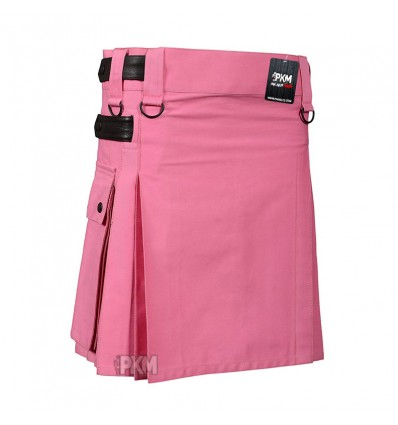 Women Pink Utility Kilt With Leather Straps