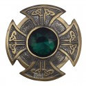 Scottish Brass Antique With Stone Brooch