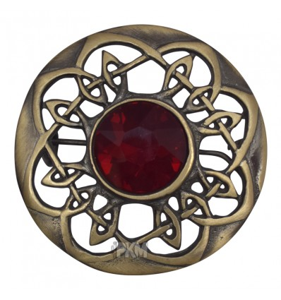 Scottish Celtic Brass Antique With Stone Brooch