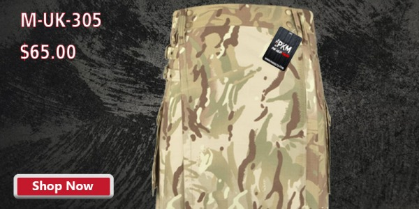 Military Camouflage Tactical Utility Kilt 100% Heavy Duty Cotton Style